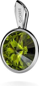 GIORRE SREBRNY WISIOREK SWAROVSKI RIVOLI 925 : Kolor kryształu SWAROVSKI - Olivine, Kolor pokrycia srebra - Pokrycie Jasnym Rodem