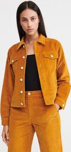 Pomarańczowa kurtka Reserved ze sztruksu w młodzieżowym stylu