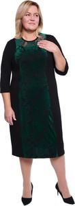 Sukienka modneduzerozmiary.pl z długim rękawem z okrągłym dekoltem dla puszystych