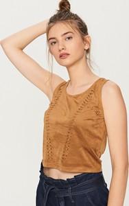Reserved - bluzka z eko zamszu - brązowy