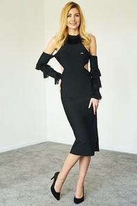 32caaa357d czarna sukienka z frędzlami - stylowo i modnie z Allani