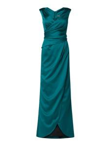Sukienka Marie Noir z satyny bez rękawów maxi