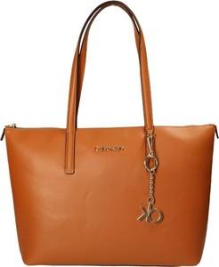 Brązowa torebka Calvin Klein duża na ramię