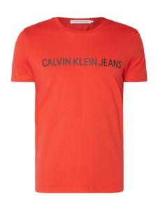 Pomarańczowy t-shirt Calvin Klein z krótkim rękawem