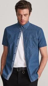 Niebieska koszula Reserved z jeansu z długim rękawem