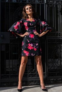 Sukienka My Image Art z długim rękawem z jedwabiu z okrągłym dekoltem
