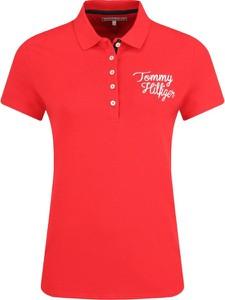 Czerwona bluzka Tommy Hilfiger w stylu casual z krótkim rękawem