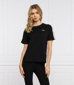 Czarny t-shirt Fila z krótkim rękawem w sportowym stylu