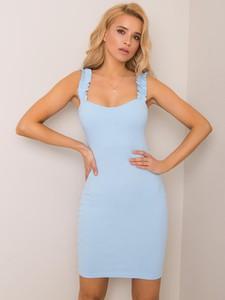 Niebieska sukienka Rue Paris z okrągłym dekoltem mini na ramiączkach