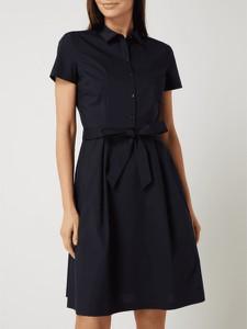 Granatowa sukienka Montego w stylu casual z krótkim rękawem koszulowa
