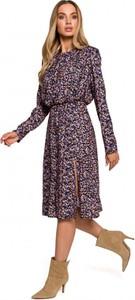 Sukienka MOE z okrągłym dekoltem w stylu casual z tkaniny