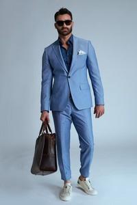 Niebieski garnitur Guns&Tuxedos w stylu casual