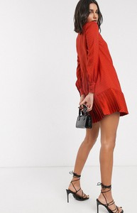 Pomarańczowa sukienka Ted Baker z długim rękawem mini