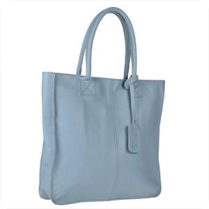 Niebieska torebka Borse in Pelle duża ze skóry