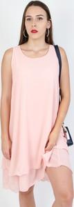 Różowa sukienka Olika mini bez rękawów