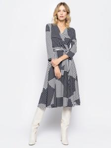Granatowa sukienka Sportmax Code midi z dekoltem w kształcie litery v