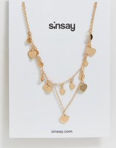 Sinsay - Naszyjnik z zawieszkami - Beżowy