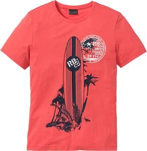 Czerwony t-shirt bonprix RAINBOW z krótkim rękawem