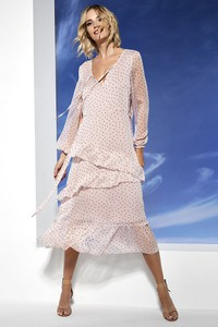 Sukienka Lavard midi z długim rękawem z dekoltem w kształcie litery v