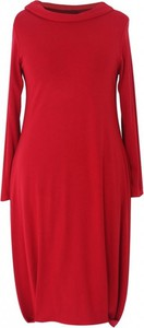 Czerwona sukienka Sklep XL-ka z długim rękawem