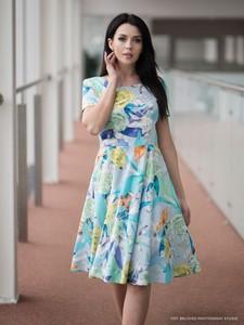 Niebieska sukienka POTIS & VERSO z tiulu z krótkim rękawem