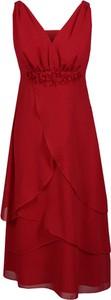 Sukienka Fokus asymetryczna z szyfonu z dekoltem w kształcie litery v