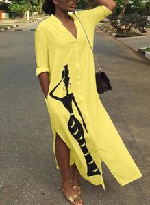 Żółta sukienka Sandbella z długim rękawem koszulowa