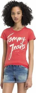 Różowy t-shirt Tommy Jeans w młodzieżowym stylu z krótkim rękawem z okrągłym dekoltem