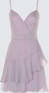 Fioletowa sukienka Trendyol mini na ramiączkach z dekoltem w kształcie litery v