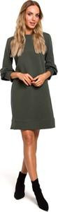 Zielona sukienka MOE z bawełny z długim rękawem mini