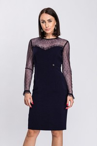 Czarna sukienka Semper dopasowana z tkaniny z długim rękawem
