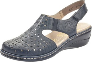 Granatowe sandały Rieker w stylu casual na niskim obcasie