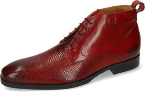Czerwone buty zimowe Melvin & Hamilton sznurowane ze skóry
