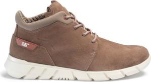 Brązowe buty zimowe Caterpillar sznurowane w street stylu