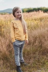 Żółta bluzka dziecięca M-art-a-baby z bawełny z długim rękawem