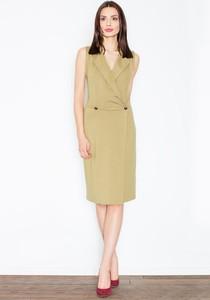Zielona sukienka Figl kopertowa bez rękawów
