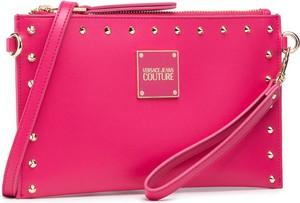 Różowa torebka Versace Jeans średnia matowa na ramię