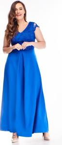 Niebieska sukienka N/A dla puszystych z krótkim rękawem z dekoltem w kształcie litery v