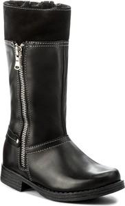 Czarne buty dziecięce zimowe kornecki ze skóry
