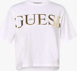 T-shirt Guess Jeans w młodzieżowym stylu z dekoltem w łódkę z krótkim rękawem