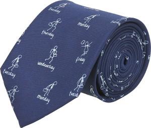 Niebieski krawat recman z nadrukiem