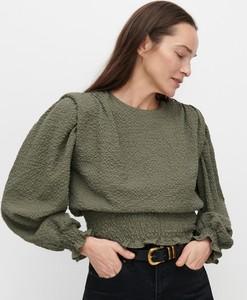 Zielona bluzka Reserved z tkaniny z długim rękawem