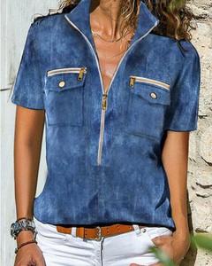 Niebieska bluzka Kendallme z jeansu z dekoltem w kształcie litery v z krótkim rękawem