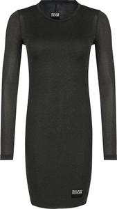 Czarna sukienka Versace Jeans w stylu casual z okrągłym dekoltem mini