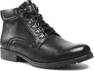 Czarne buty zimowe Lanetti sznurowane w stylu casual