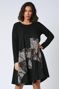 Sukienka Plus Size Company z długim rękawem z okrągłym dekoltem mini