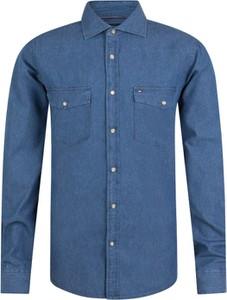 Niebieska koszula Tommy Hilfiger z klasycznym kołnierzykiem z bawełny z długim rękawem
