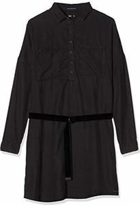 Czarna sukienka amazon.de z długim rękawem z kołnierzykiem w stylu casual
