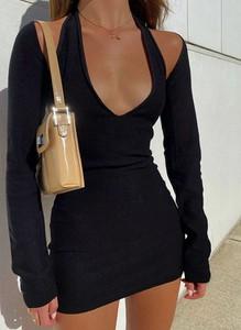 Sukienka Cikelly z długim rękawem z dekoltem w kształcie litery v w stylu casual