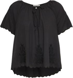 Czarna bluzka Gap z krótkim rękawem w stylu boho ze sznurowanym dekoltem